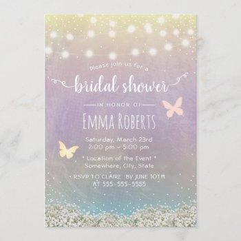 bridal shower elegant watercolor butterfly floral invitation