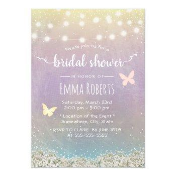 bridal shower elegant watercolor butterfly floral invitation