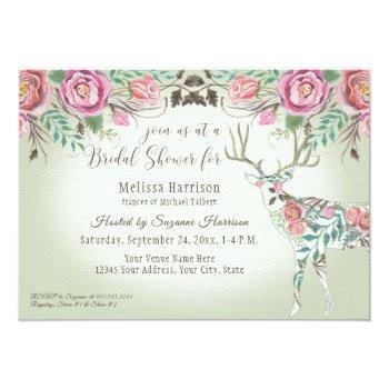 bridal shower elegant wild rose floral deer antler invitation