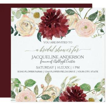 bridal shower fall chrysanthemum marsala rose invitation