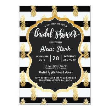 bridal shower | faux gold foil pineapple stripes invitation