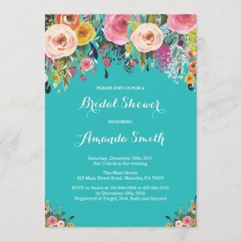 bridal shower floral flowers teal turquoise aqua invitation