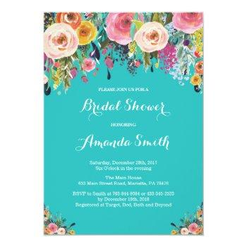 bridal shower floral flowers teal turquoise aqua invitation