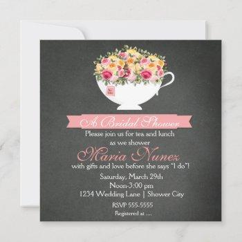 bridal shower floral tea party modern rustic invitation