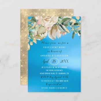bridal shower flower brunch mint roses blue sku invitation