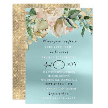 bridal shower flower brunch spark gold aqua invitation