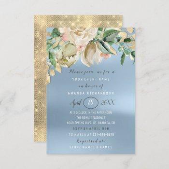bridal shower flower brunch spark gold blue invitation