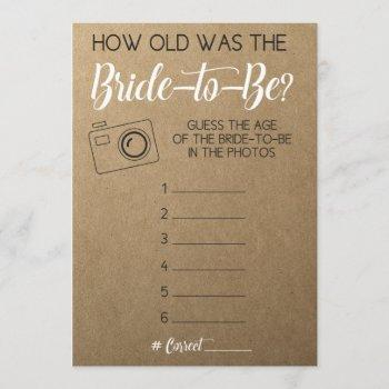 bridal shower game- guess bride's age from photo invitation