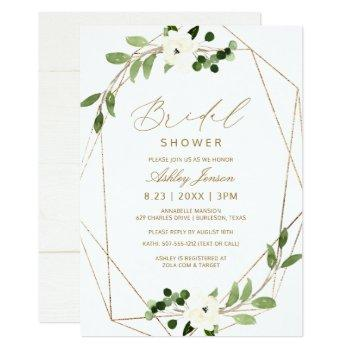 bridal shower geometric greenery vines watercolor invitation