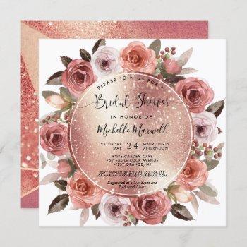 bridal shower, geometrical rose gold, blush floral invitation