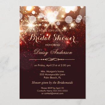 bridal shower - glamour gold glitter sparkles invitation