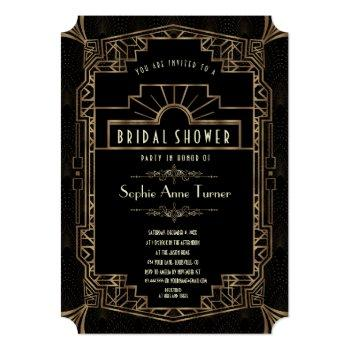 bridal shower | gold art deco gatsby 1920s style invitation