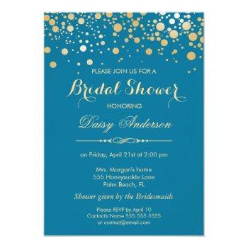 bridal shower - gold confetti dots royal blue invitation
