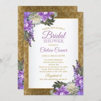 bridal shower - gold damask & lavender purple invitation