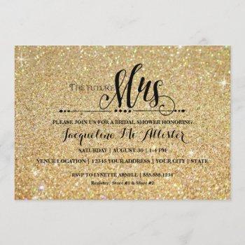 bridal shower gold glitter future mrs. modern fab invitation