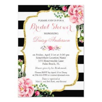 bridal shower gold pink floral black white stripes invitation