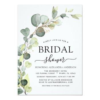 Bridal Shower Greenery Eucalyptus Succulent Invitation Front View