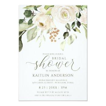 Bridal Shower Greenery Foliage White Watercolor Invitation Front View