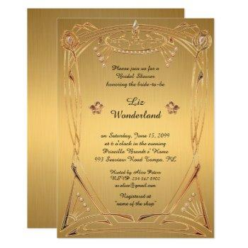 bridal shower honoring, great gatsby, gold invitation