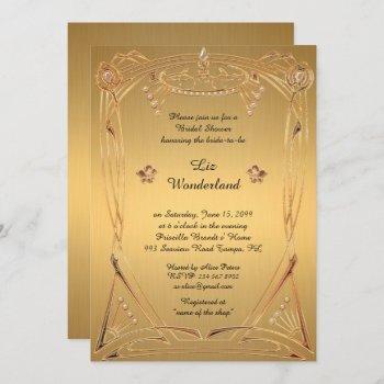 bridal shower honoring, great gatsby, gold invitation