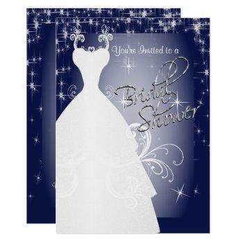 bridal shower in navy blue starry night invitation