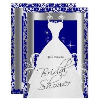 bridal shower in royal blue damask and silver invitation