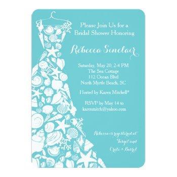 bridal shower invitation, beach, sea shell dress invitation