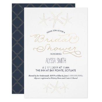 bridal shower invitation - beach, starfish, gold