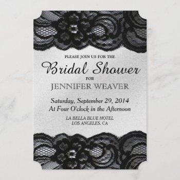 bridal shower invitation black lace and satin