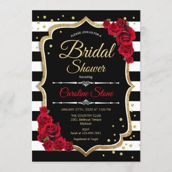 bridal shower invitation black white stripes roses