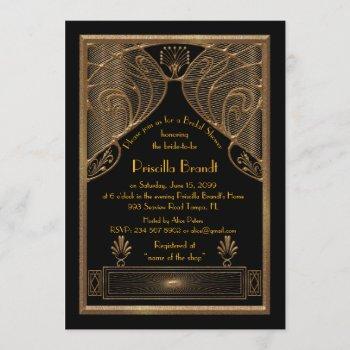 bridal shower invitation,great gatsby black gold invitation