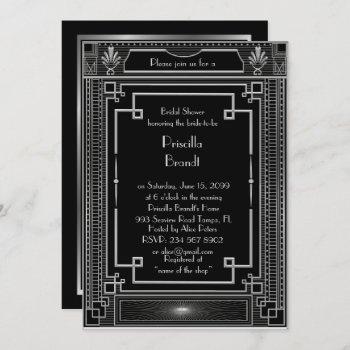 bridal shower invitation,great gatsby black silver invitation