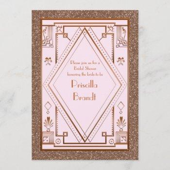 bridal shower invitation,great gatsby,glitter pink invitation