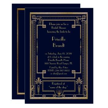 bridal shower invitation,great gatsby gold navy invitation