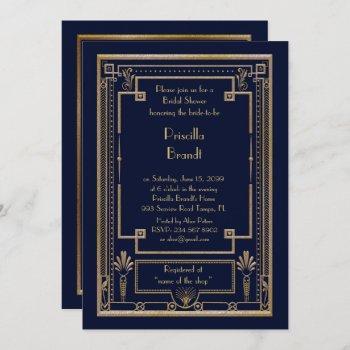 bridal shower invitation,great gatsby gold navy invitation