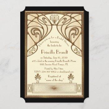 bridal shower invitation,great gatsby ivory black invitation