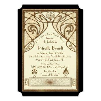 bridal shower invitation,great gatsby ivory black invitation