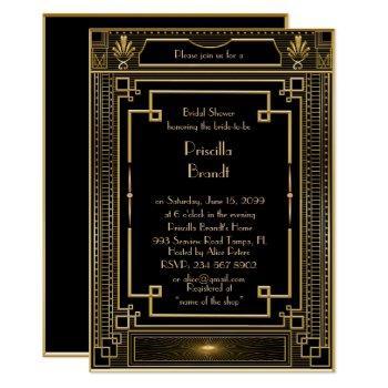 bridal shower invitation,great gatsby metal gold invitation