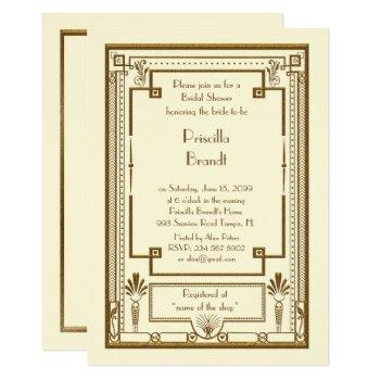 bridal shower invitation,great gatsby metal ivory invitation