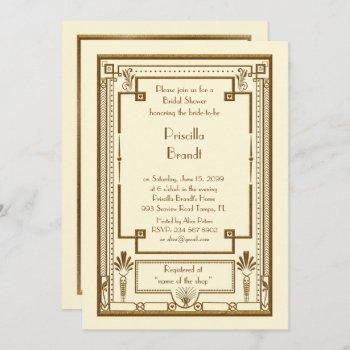 bridal shower invitation,great gatsby metal ivory invitation