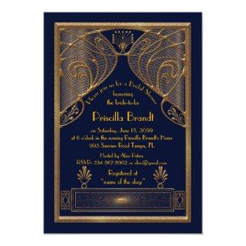 bridal shower invitation,great gatsby, navy gold invitation