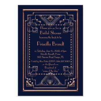 bridal shower invitation,great gatsby, navy, pink invitation