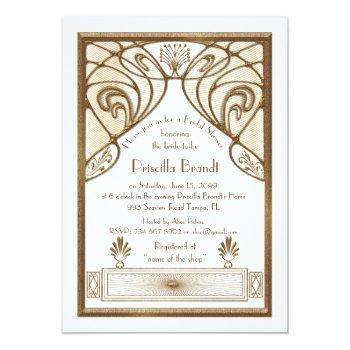 bridal shower invitation,great gatsby white gold invitation