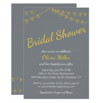 bridal shower invitation in gray and yellow