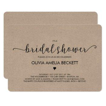 bridal shower invitation - kraft