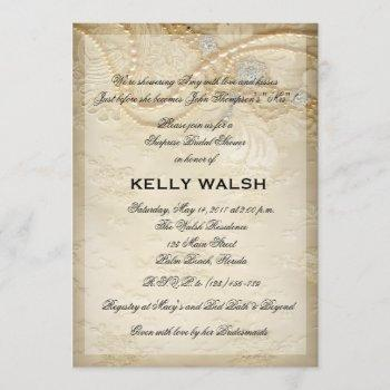 bridal shower invitation lace and pearls