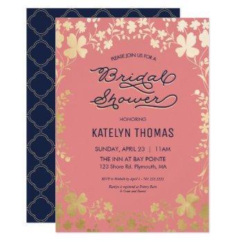 bridal shower invitation, navy, coral, gold floral invitation