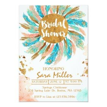 bridal shower invitation, peacock feathers invitat invitation