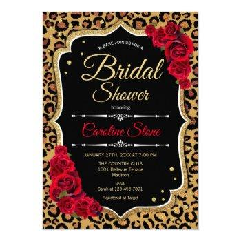 bridal shower invitation red roses leopard print