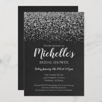 bridal shower invitation, silver, black, bridal invitation